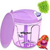 Smile mom ABS Chefs Vegetable Chopper, Cutter, Whisker Set with Storage Lid for Kitchen, 5 Stainless Steel Blade and Whisker Blade (900 ml, Violet)