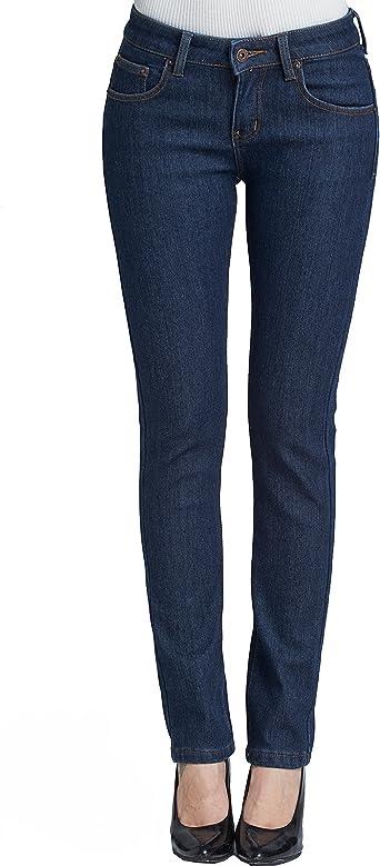 Camii Mia Damen Jeanshose Slim Fit Mid Rise Jeans Fleece Gefürttert Regular Fit Denim Hose Trousers