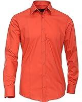 Venti Hemd Blutorange Uni Langarm Body Stretch Extra Schmal Kentkragen 100% Feinste Baumwolle Bügelfrei