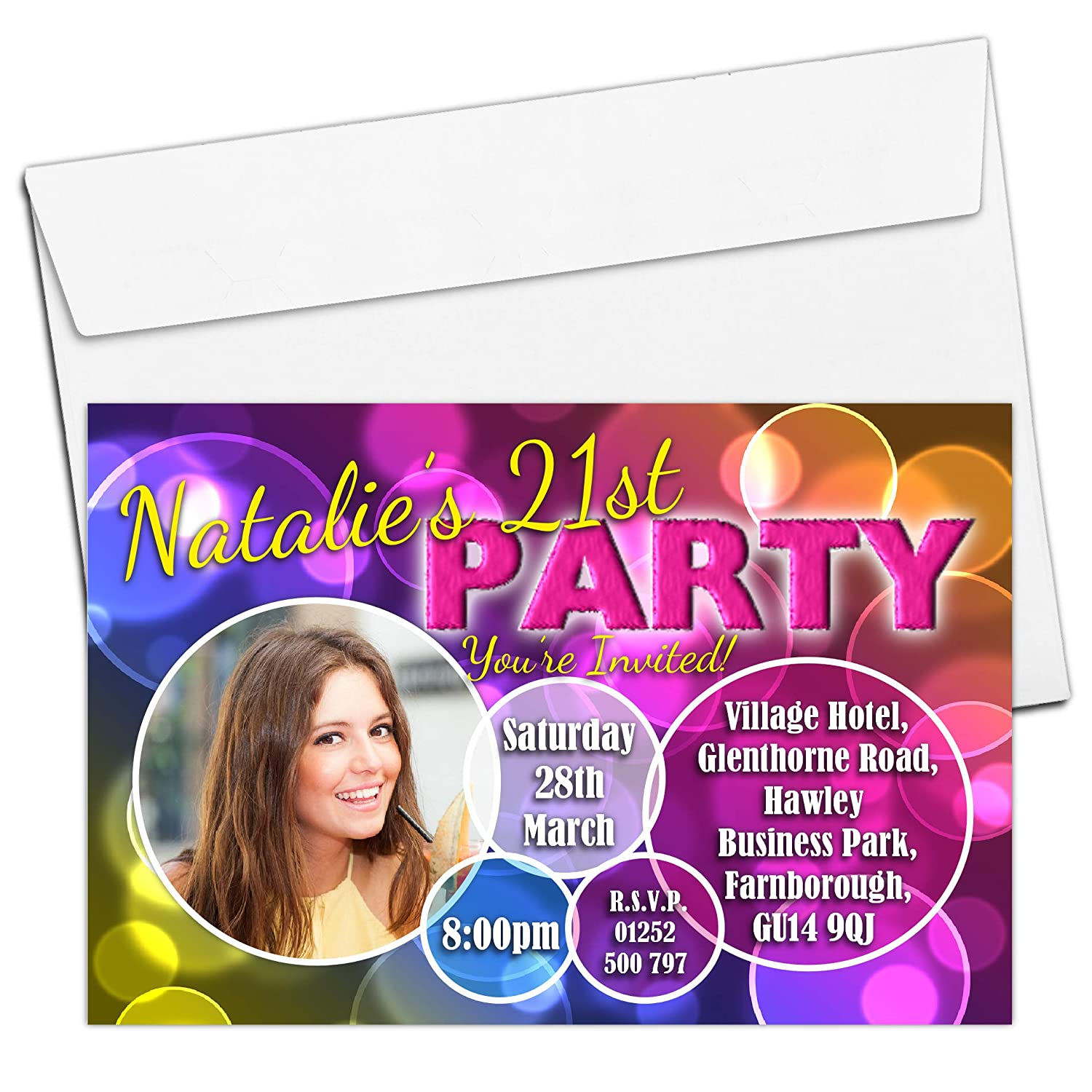 10 Personalised 18th 21st 30th 40th 50th 60th Adult Birthday Party PHOTO Invitations N180 - ANY AGE The Personalised Party Co.