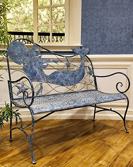 Terrific Amazon Com Coastal Blue Mermaid Back Bench Garden Outdoor Gmtry Best Dining Table And Chair Ideas Images Gmtryco