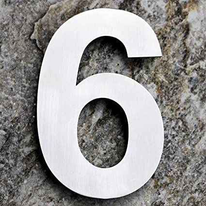 QT Modern House Number EXTRA LARGE Inch Brushed Stainless - 10 inch metal house numbers
