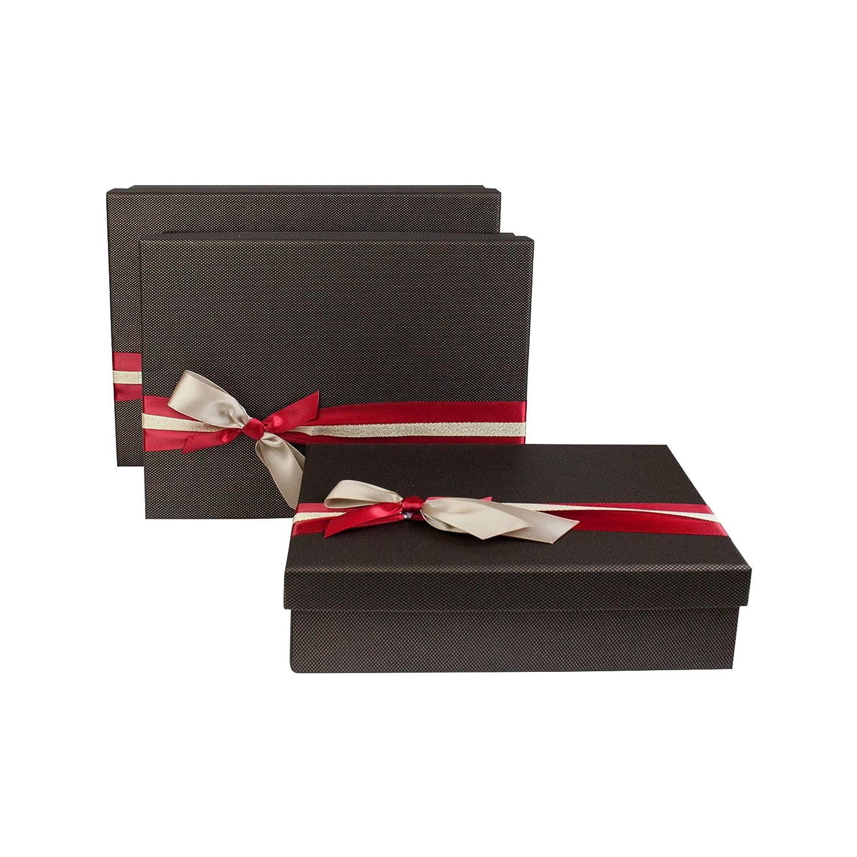 Innenseite Bedruckt und Mehrfarbiges Gestreiftes Dekoratives Band Emartbuy Set von 3 Starre Luxus Rechteckige Pr/äsentations-Geschenkbox Strukturierter Burgunder Box mit Deckel