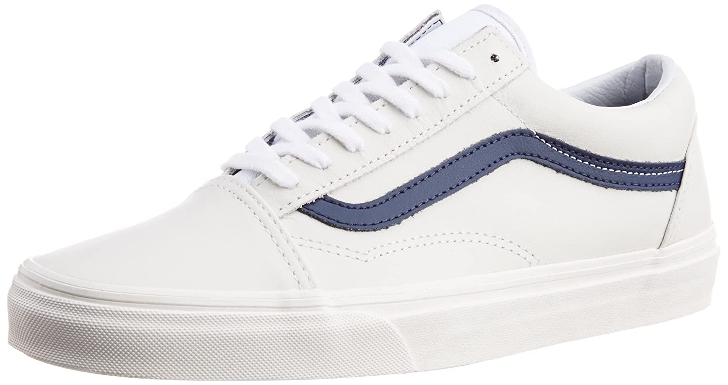 9ed9a8ea16 Vans Men s Old Skool Matte Leather True White and Dress Blues Canvas  Sneakers - 6 UK  Buy Online at Low Prices in India - Amazon.in