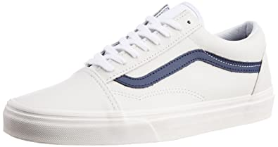 Vans Men s Old Skool Matte Leather True White and Dress Blues Canvas  Sneakers ... 0c526cc99