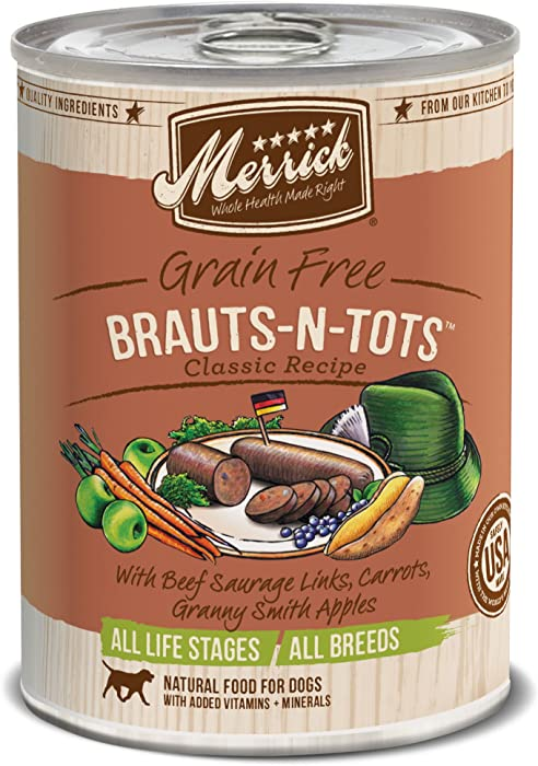 Merrick Classic Grain Free Brauts-N-Tots Wet Dog Food, 13.2 Oz, Case Of 12 Cans