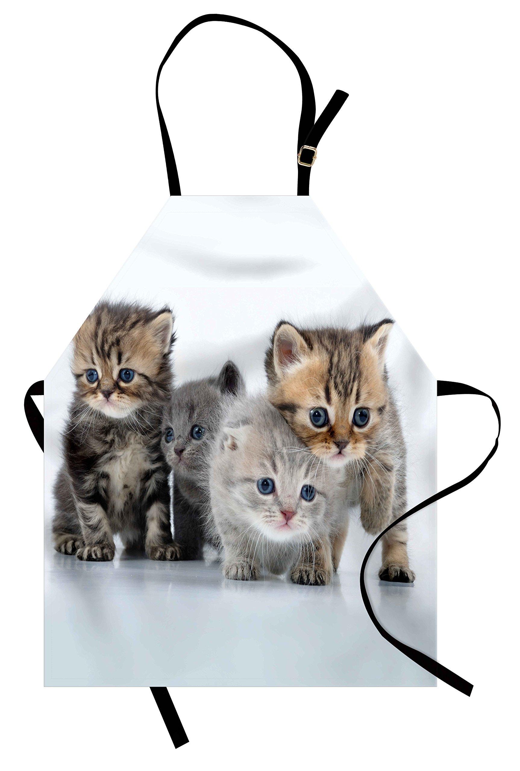 Lunarable Kitten Apron, Animal Themed Walking Cute Little Kittens on White Background Digital Print, Unisex Kitchen Bib Apron with Adjustable Neck for Cooking Baking Gardening, Grey and White