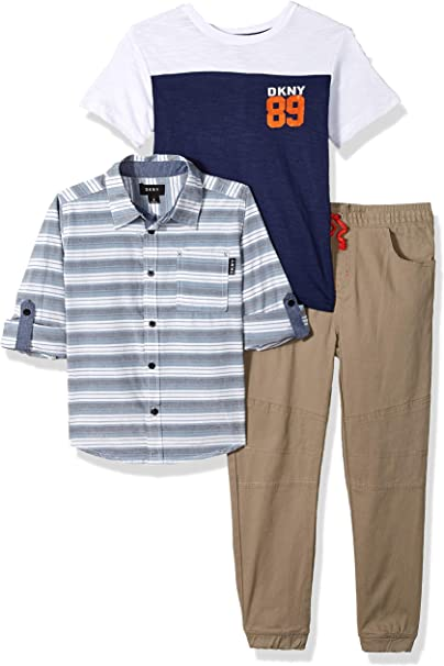 Toddler and Little, Big Boy DKNY Boys 3-Piece Denim Pants Set with Button Down Shirt and Tee
