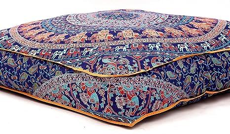 Hermosa funda de cojín cuadrada con diseño de mandala, de Aakriti, para cojín de meditación, asiento, decorativa, bohemia, india, 89 cm