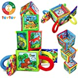 teytoy My First Soft Rattle, Nontoxic Fabric Baby Cloth Activity Crinkle Soft Rattles for Infants Boys and Girls Early…