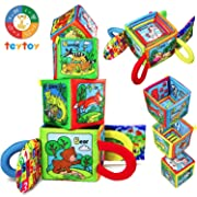 teytoy Zoo Series Baby Alphabet and Numbers Learning Toys,Nontoxic Fabric Baby Early Education Shape Color Recognition Crinkle Cloth Toy for Over 0 Years