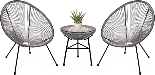 Best Choice Products 3-Piece Outdoor Acapulco Woven Rope Patio Conversation Bistro Set w Glass Top Table and 2 Chairs, Gray