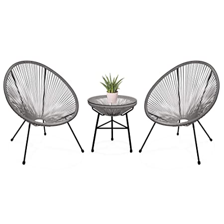 Best Choice Products 3-Piece Outdoor Acapulco Woven Rope Patio Conversation Bistro Set with Glass Top Table and 2 Chairs, Gray