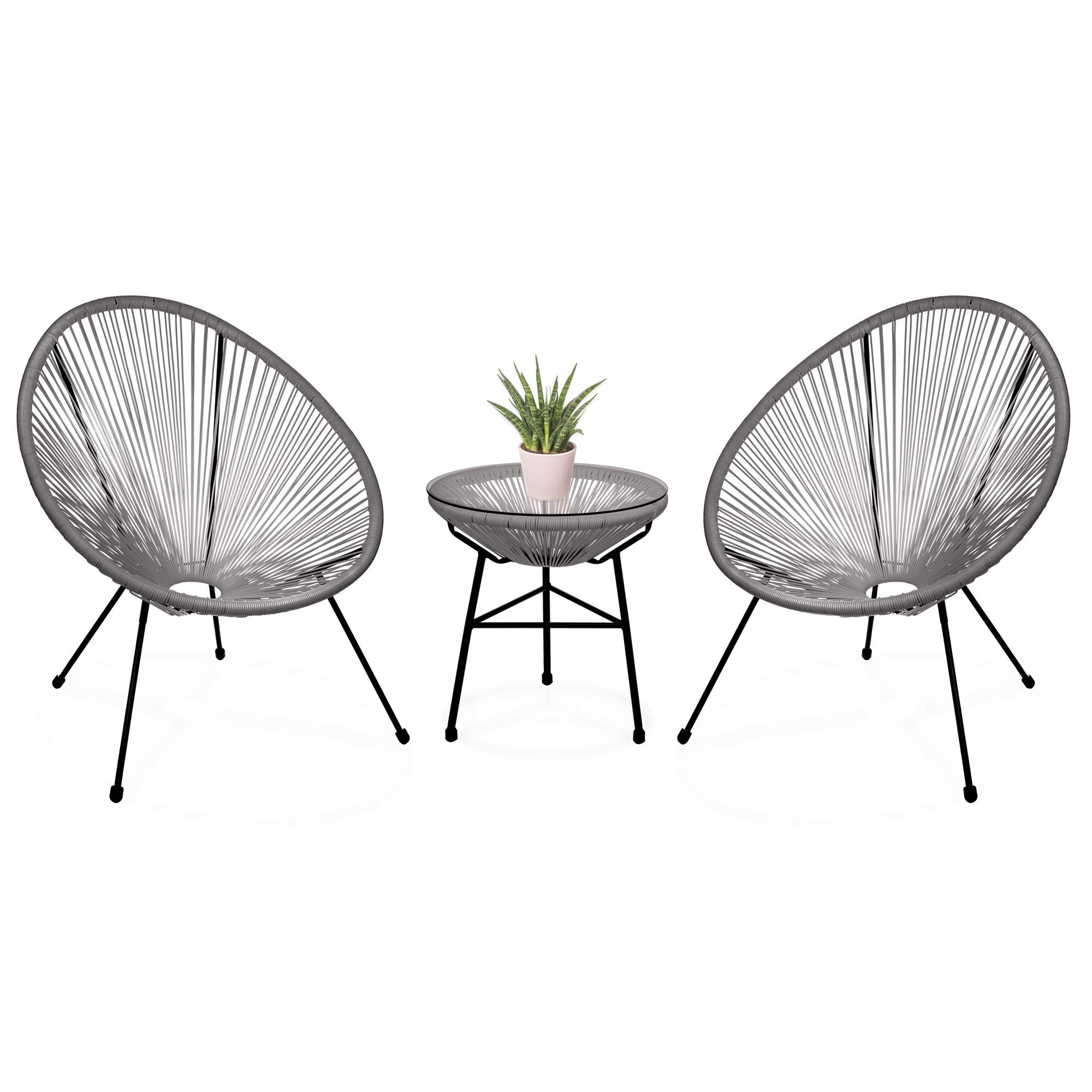 Best Choice Products 3-Piece Patio Woven Rope Acapulco Conversation Bistro Furniture Set w/Glass Top Table - Gray