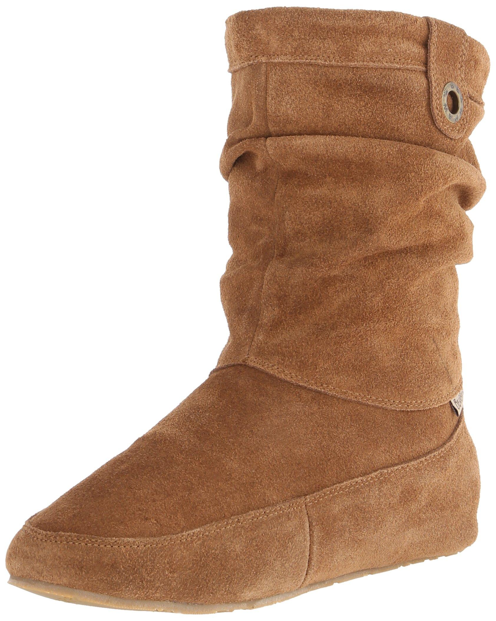 BEARPAW Women's Travel Snow Boot, Brown Suede, Sheepskin, 7 M