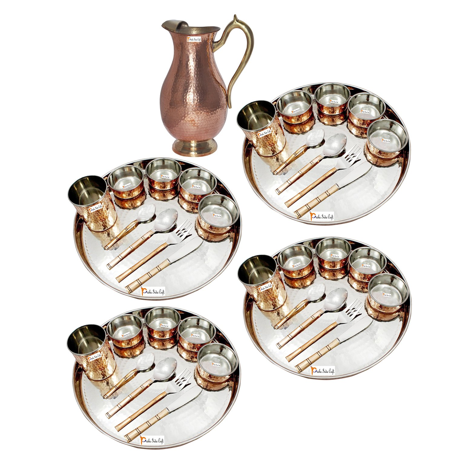 Prisha India Craft ® Set of 4 Dinnerware Traditional Stainless Steel Copper Dinner Set of Thali Plate, Bowls, Glass and Spoons, Dia 13'' With 1 Pure Copper Mughal Pitcher Jug - Christmas Gift