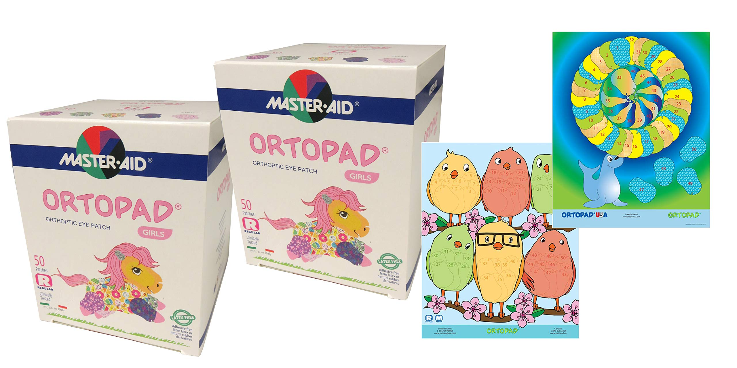 Ortopad® Bamboo 100-Pack for Girls, Adhesive Eye Patches, Regular Size, 2 Boxes and 2 Posters by Ortopad