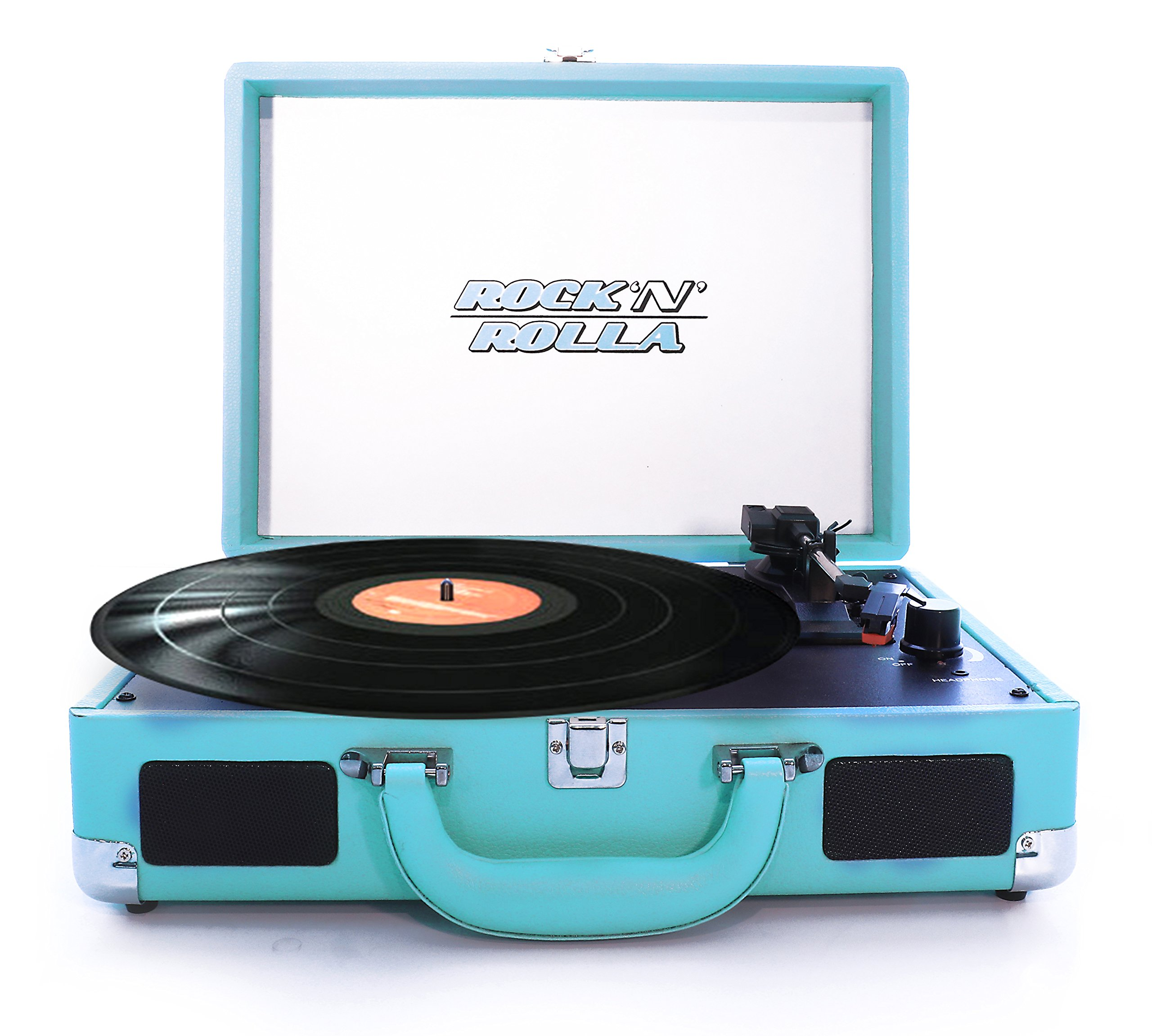 Rock 'N' Rolla Jr. - Portable Briefcase Bluetooth USB Vinyl Record Player Turntable - Teal