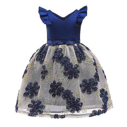 YRE Vestido de niña, Falda Bordada de niña de Flores, Vestido de ...