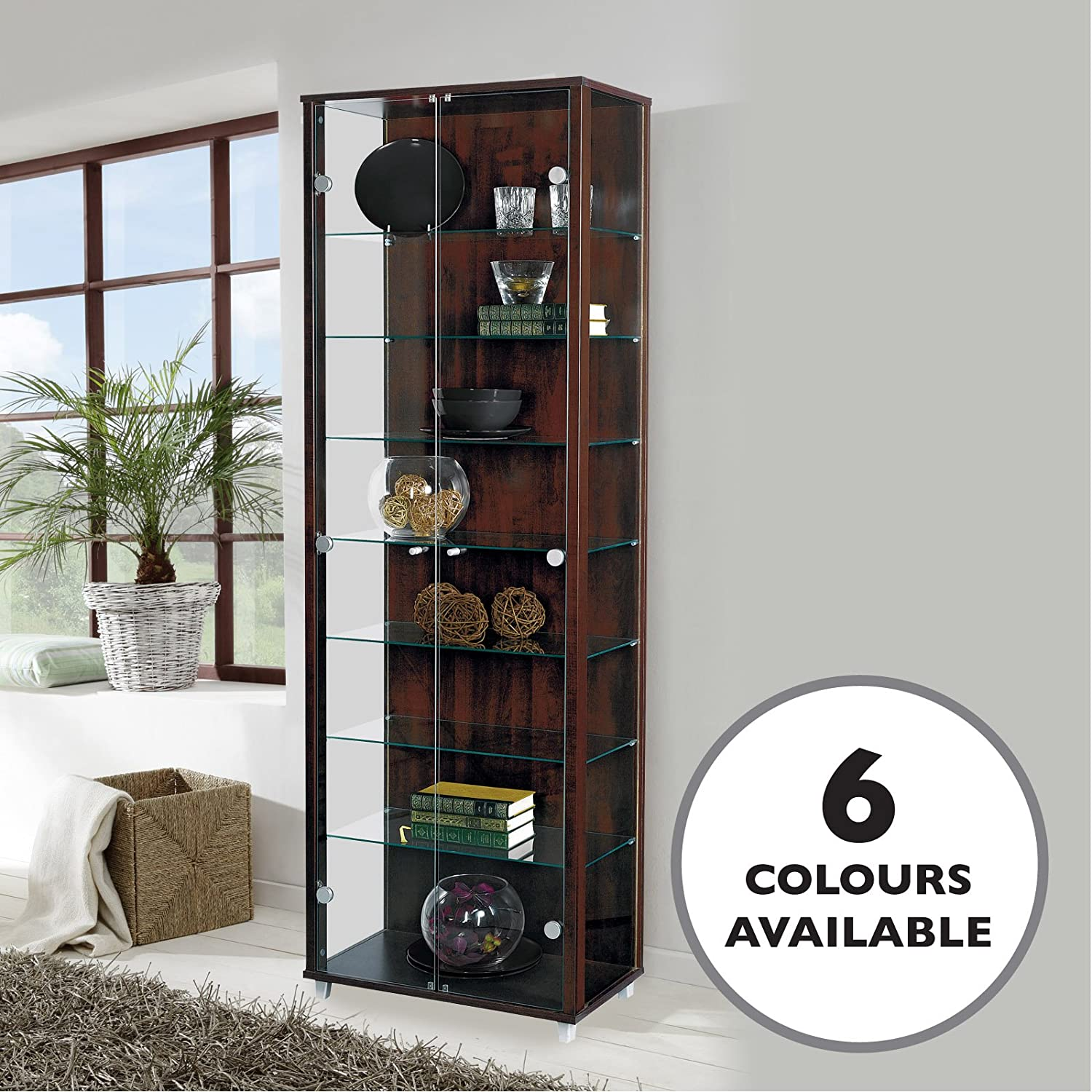 HOME Double Glass Display Cabinet Wenge Dark Wood with 4 Moveable Glass Shelves & Spotlight Displaycabinetsuk