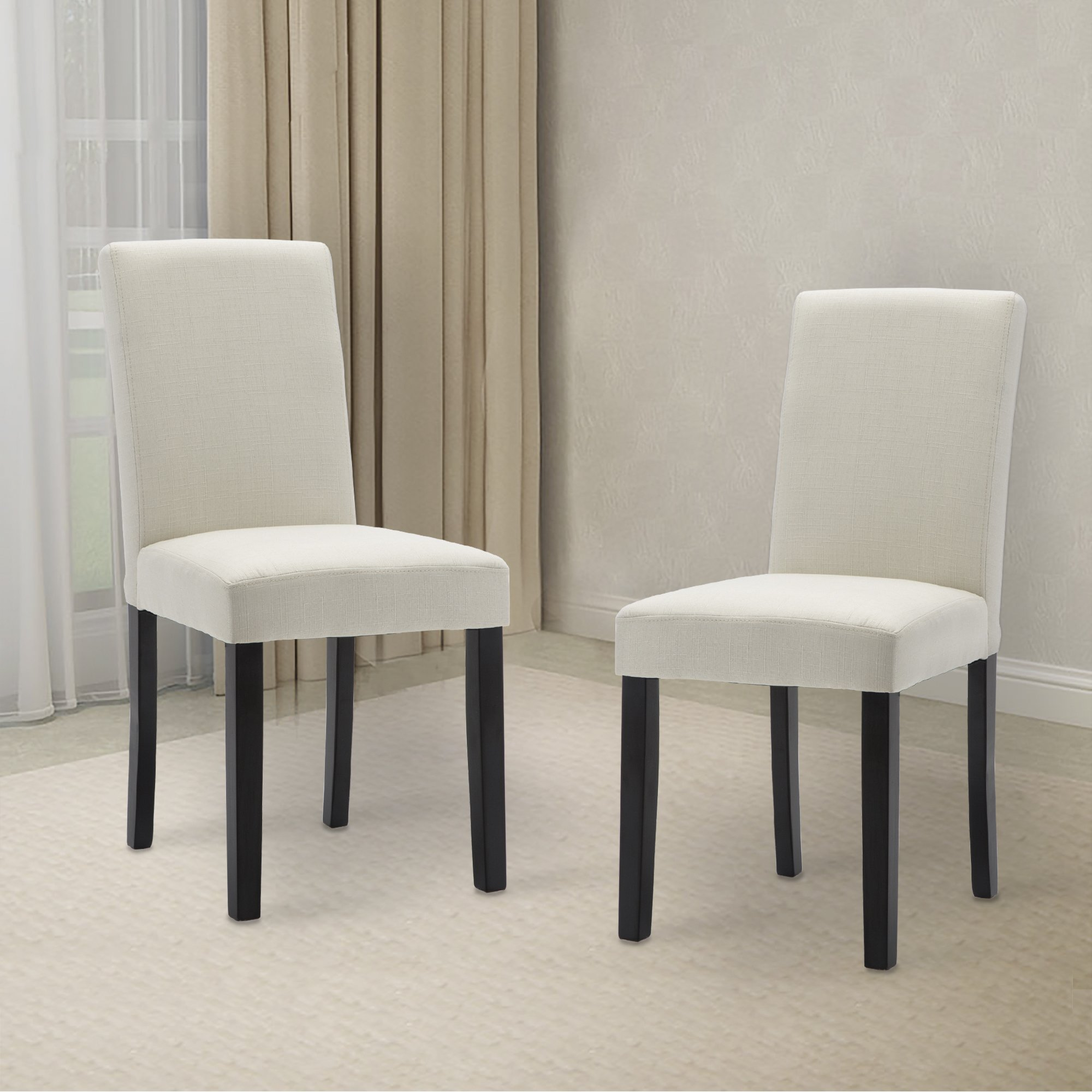 LSSBOUGHT Set of 2 Classic Fabric Dining Chairs Dining Room Chair with Solid Wood Legs, Beige