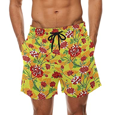 fd42ef2f7cceb COOSUN Men's Red Flowers Floral Beach Board Shorts Quick Dry Swim Trunk