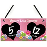 RED OCEAN Weight Loss Tracker Chalkboard Journey Gift Hanging Plaque Slimming World Sign