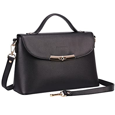 Image Unavailable. Image not available for. Color  Banuce Black Genuine  Leather Handbag ... 28bda0be54d6