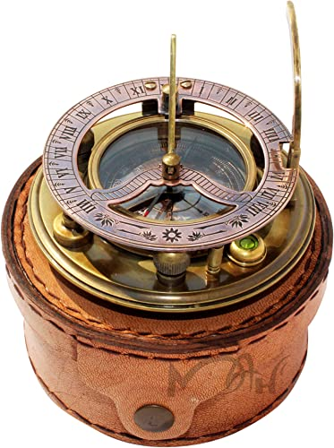MAH Steampunk for Solid brass Sundial Compass in fitted Leather Box. C-3052