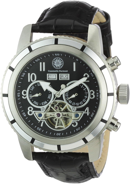 Constantin Durmont Pueblo - Reloj analógico de caballero automático con correa de piel negra - sumergible a 30 metros