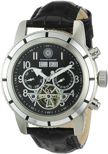 Constantin Durmont Pueblo - Reloj analógico de caballero automático con correa de piel negra - sumergible a 30 metros: Amazon.es: Relojes