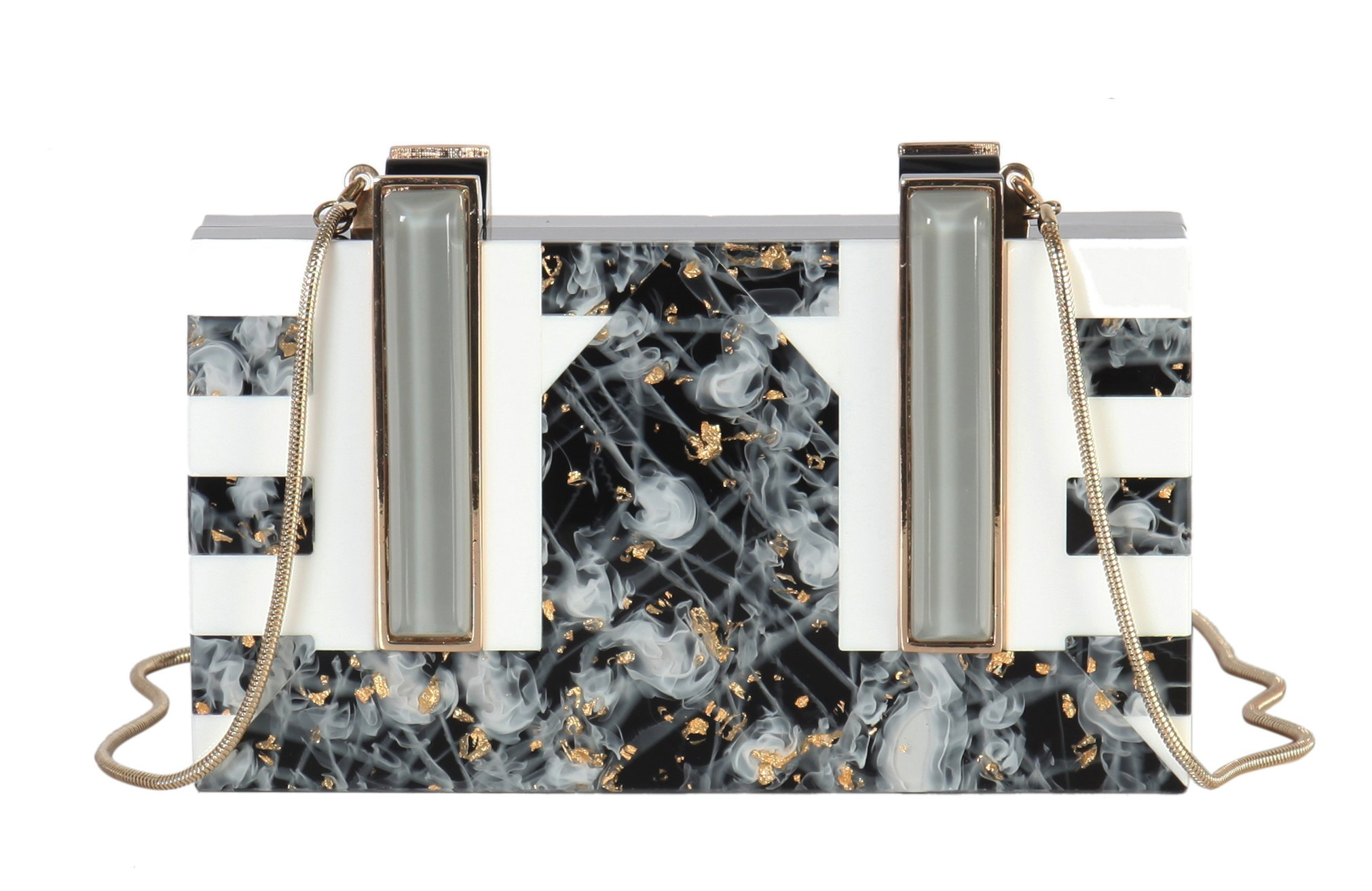 Diophy Perspex Goldleaf Marble Pattern Love Me Box Clutch with Detachable Chain Strap HZ-181 HZ-182