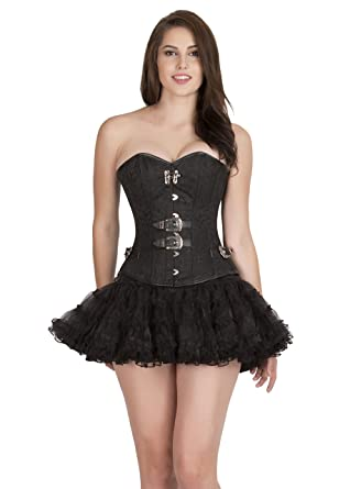 5cf226aa723 Black Brocade Leather Gothic Steampunk Overbust Bustier Tutu Skirt Corset  Dress