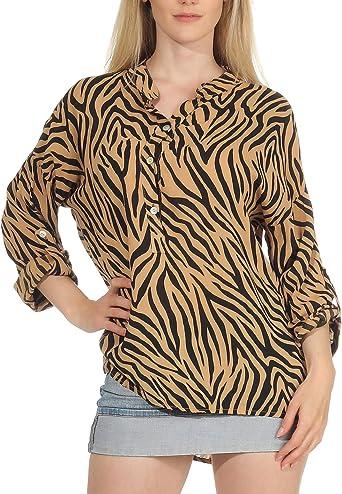 Malito Mujer Blusa con Animal-Print 3/4 Túnica Parte Superior Top 6705 (Amarillo Oscuro): Amazon.es: Ropa y accesorios