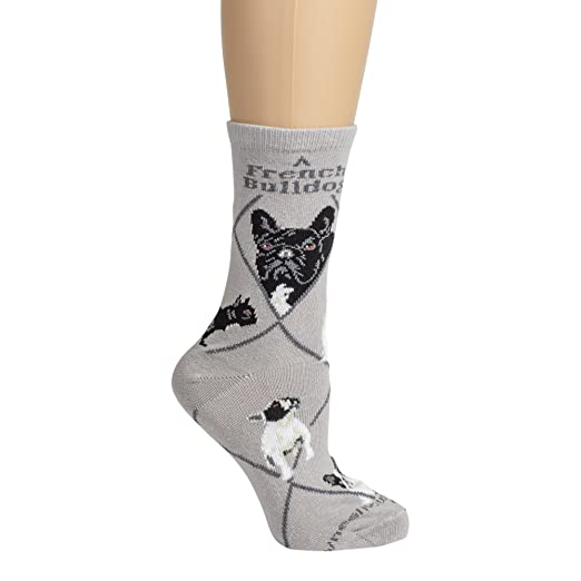 Amazon.com: French Bull Dog on Gray Lightweight Stretch Cotton Crew Sock Adult Unisex Size 10-13: Clothing