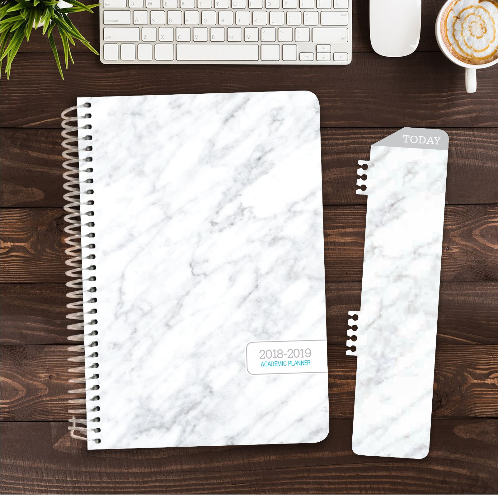 HARDCOVER Academic Year Planner 2018-2019 - 5.5''x8'' Daily Planner/Weekly Planner/Monthly Planner/Yearly Agenda. Bonus Bookmark (Grey Marble) by Global Printed Products (Image #1)