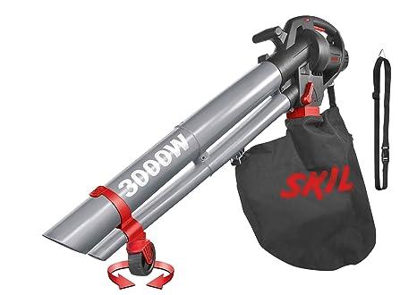Skil 0796AA - Soplador, aspirador y triturador de hojas con rueda pivotante y variador de velocidad (3000 W, bolsa de recogida, Easy Storage)