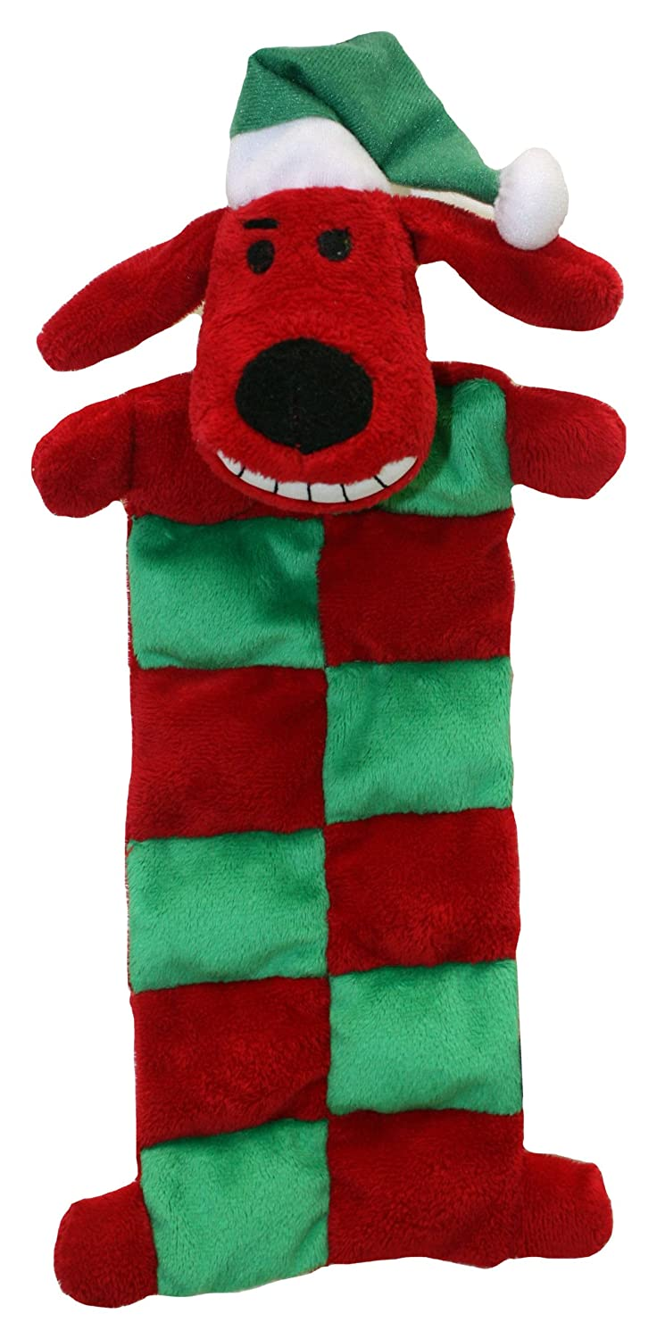 Multipet Loofa Holiday Squeaker Mat Dog Toy With Santa Hat