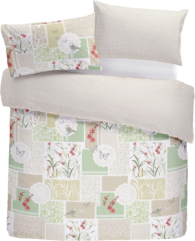 Patchwork Flowers Birds Gingham Red Green Cotton Blend Usa Twin 135cm X 200cm - Uk Single Duvet Comforter Cover