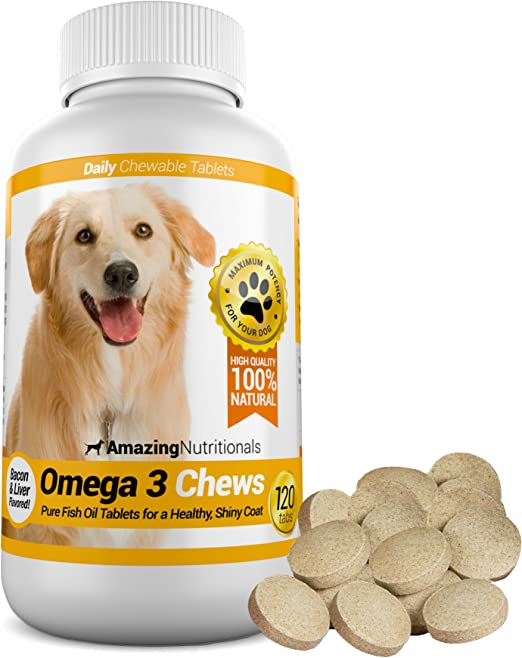 Amazing Omega 3 for Dogs - Dog Fish Oil Pet Antioxidant for Shiny Coat, Joint and Brain Health - 120 Bacon Flavor Chews