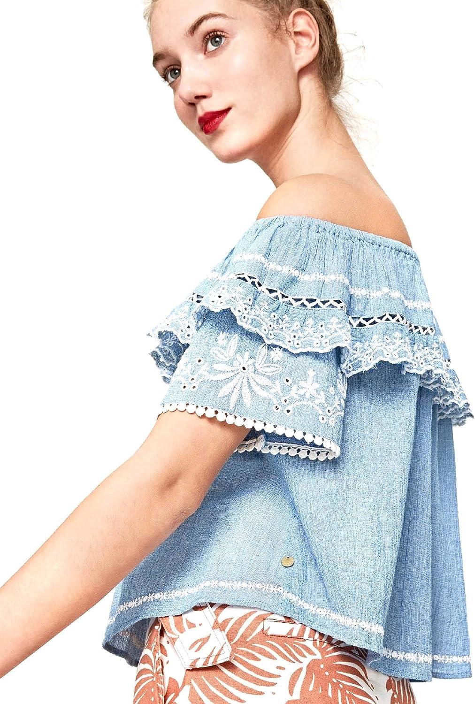 Pepe Jeans Blusa Lois Azul Mujer: Amazon.es: Ropa y accesorios