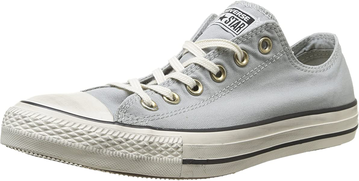 7b8325fd60d2 Converse Unisex Chuck Taylor  All Star  Washed Canvas Ox Oyster Gray Men s  7.5