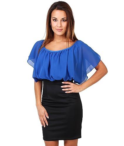 KRISP Women's Fashion Summer Contrast Bodycon Pencil Skirt Ruffle Dress US 4-16