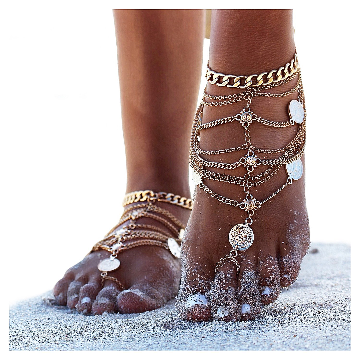 Gleamart Multi-layer Retro Punk Coins Decor Anklets Tassels Beach Ankle Chains Barefoot Sandals with Toe Rings Gold