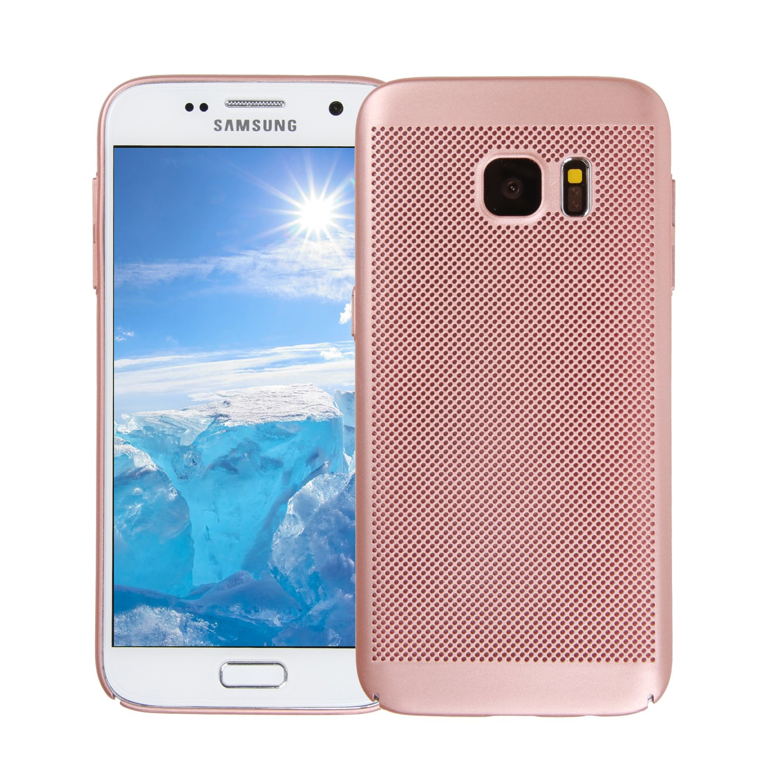 Samsung Galaxy S7 Case ITAMO Fashion Ultra-Thin Breathable Cooling Mesh Hard Phone Cover for Samsung Galaxy S7 (Pink)