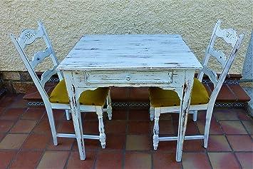 Mesa Rústica + Dos Sillas, Rústico-Vintage, para Cocina, Porche ...