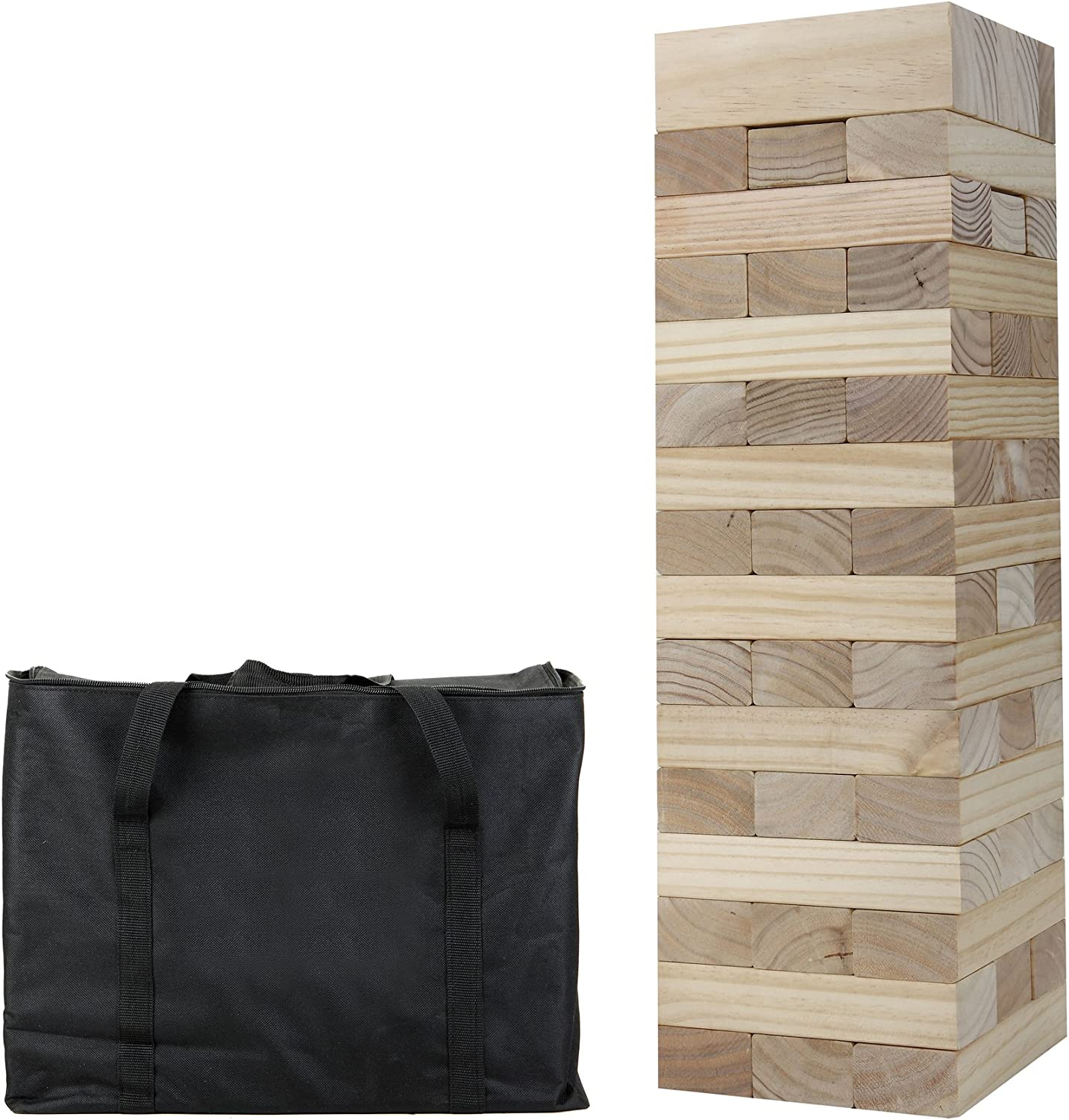 Hathaway Outdoor Block Out Wood Toppling Tower Stacking Collapsing Game with Bag