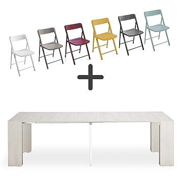 Set de 6 sillas plegables + consola extensible Space, blanco ...