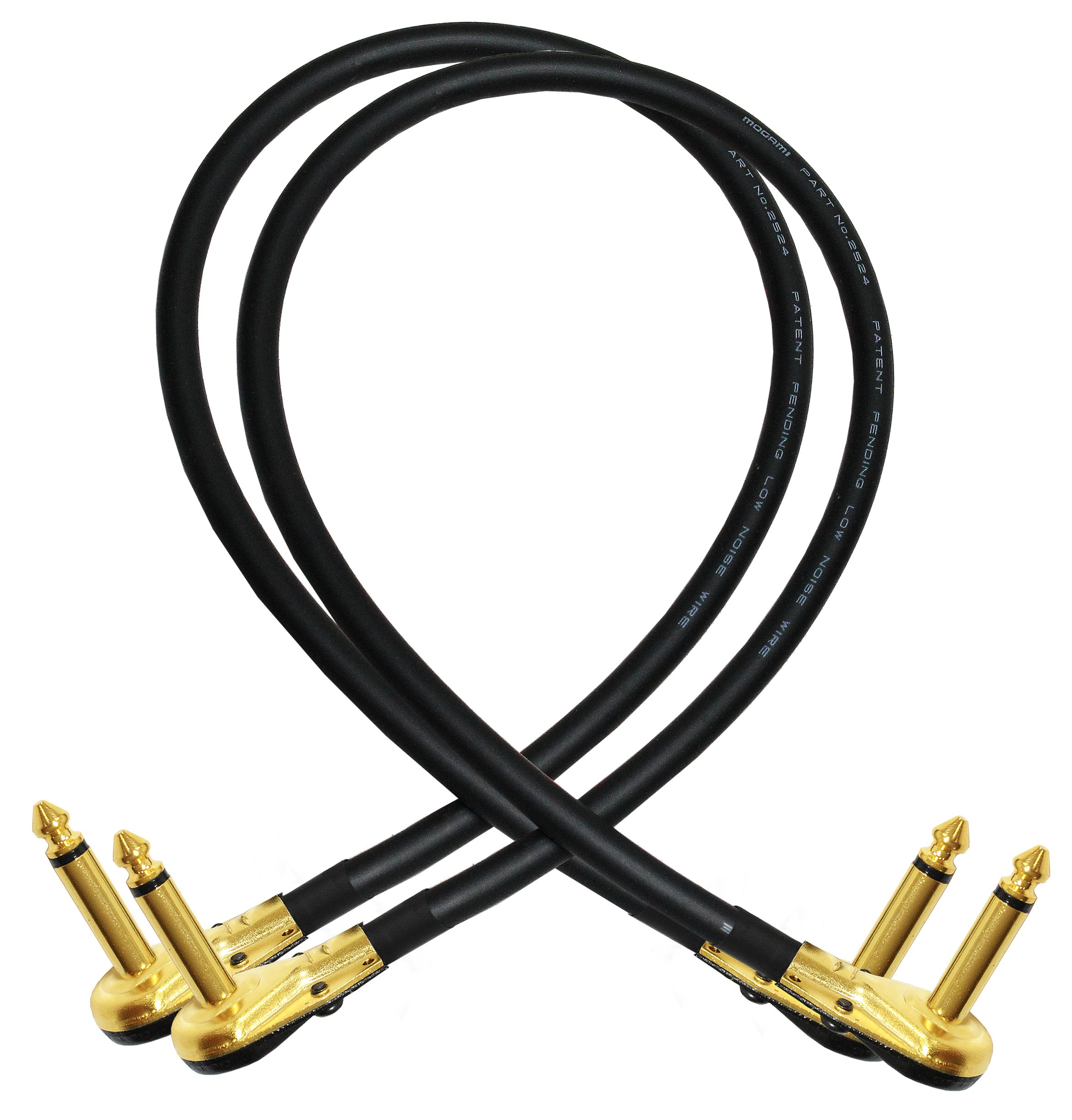 2 Units - 18 Inch - Pedal, Effects, Patch, instrument cable CUSTOM MADE By WORLDS BEST CABLES - made using Mogami 2524 wire and Eminence Gold Plated ¼ inch (6.35mm) R/A Pancake type Connectors