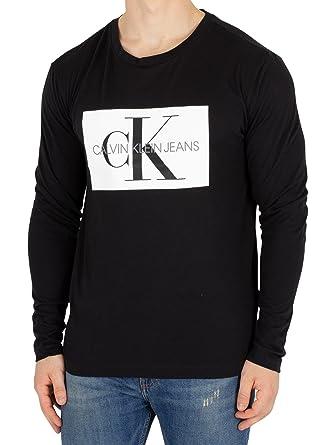 Calvin Klein Jeans Hombre Camiseta con Caja de Monograma Longsleeved, Negro: Amazon.es: Ropa y accesorios